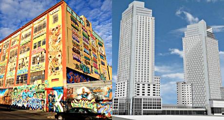 A gauche, le site de 5 Pointz aujourd'hui. A droite, le projet immobilier qui doit remplacer 5 Pointz. (Photo D.R.)