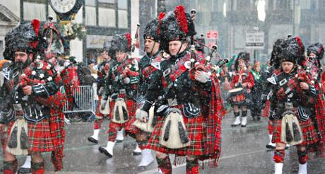 Une Saint-Patrick sous la neige ! (Photo Agnès)