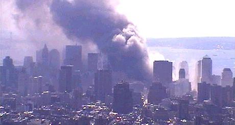 Vue depuis la webcam de l'Empire State building, le 11 septembre 2001. (Photo D.R.)