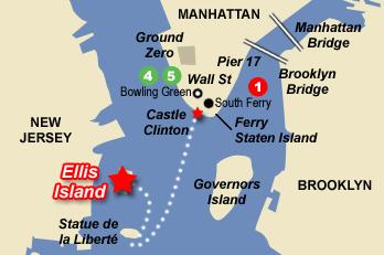 Plan d'accès à Ellis Island