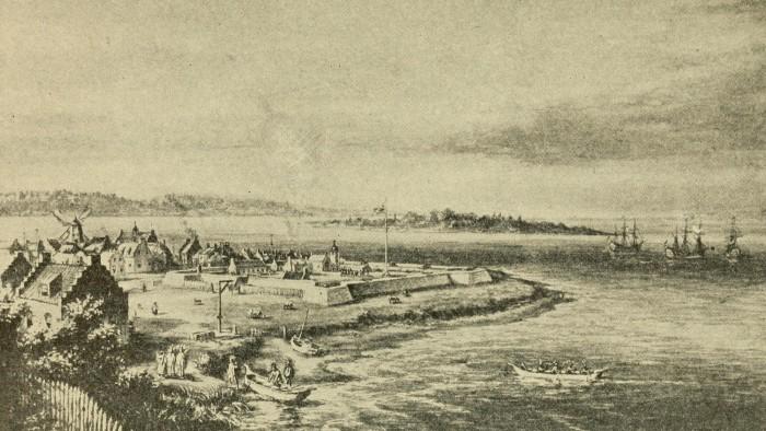 Gravure historique représentant l'ancienne colonie de New Amsterdam. Voici à quoi ressemblait le Financial District en 1653...