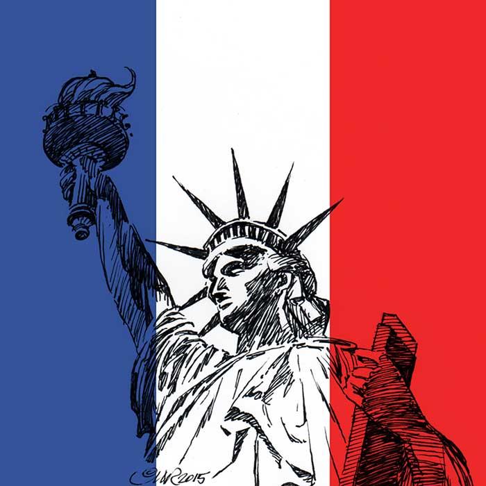 Statue de la Liberté avec drapeau français