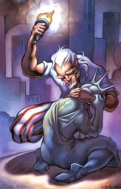 Oncle Sam consolant la Statue de la Liberté