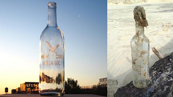 La bouteille avant son départ et à son arrivée en France... (Photo DR)