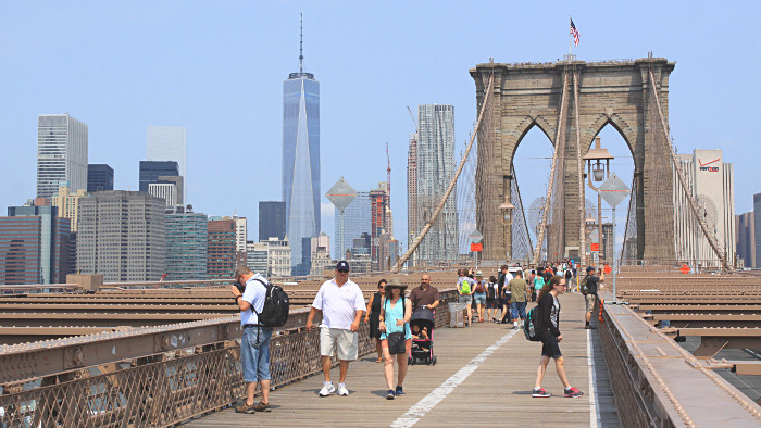 La vue sur Manhattan depuis le pont de Brooklyn. (Photo Didier Forray)