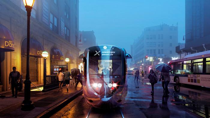 Vue d'artiste du futur tramway de New York. (Photo DR)