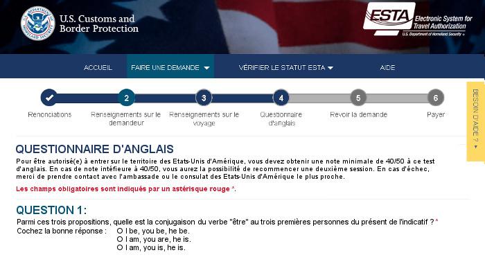 Capture d'écran du nouveau test d'anglais.