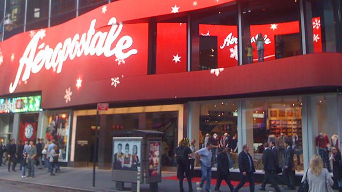 La façade du flagship store d'Aéropostale sur Times Square.