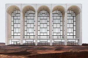 Les immeubles de New York au beau milieu du désert