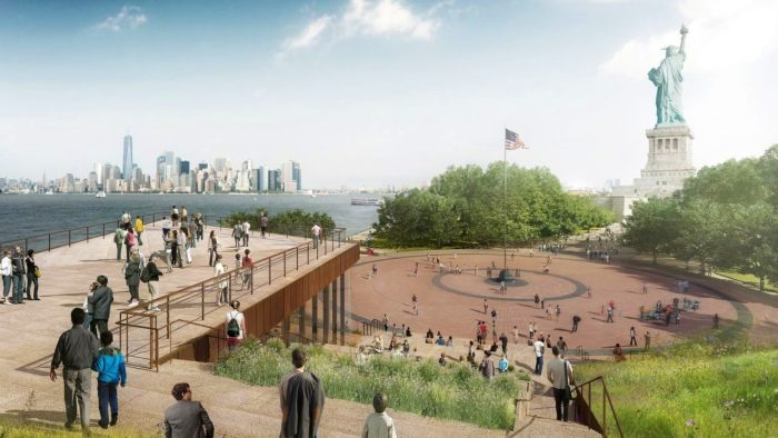 vue sur New York depuis le futur musée de la statue de la Liberté