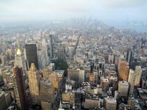 Vue sur la pointe Sud de Manhattan le matin.
