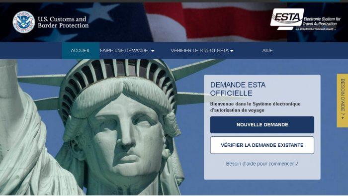 site demande ESTA france