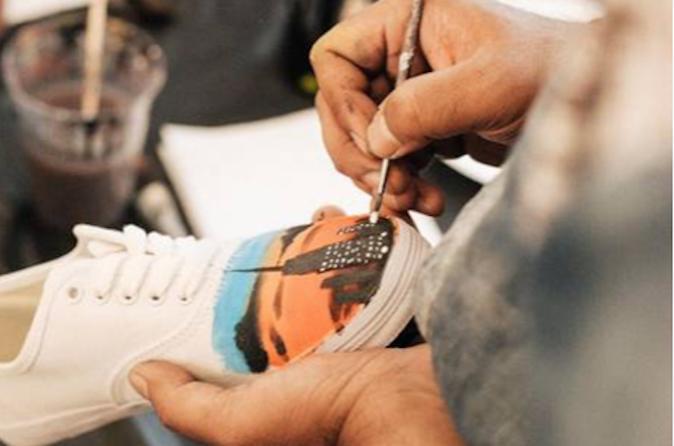 sneakers peinture new york
