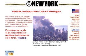 La Home du site le 11 septembre 2001.