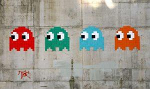 Des fantômes tout droit sortis de Pac Man. (Photo Invader)