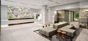 Le lobby de l'hôtel Innside New York NoMad.