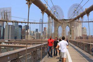 Dans les câbles du pont de Brooklyn. (Photo Didier Forray)