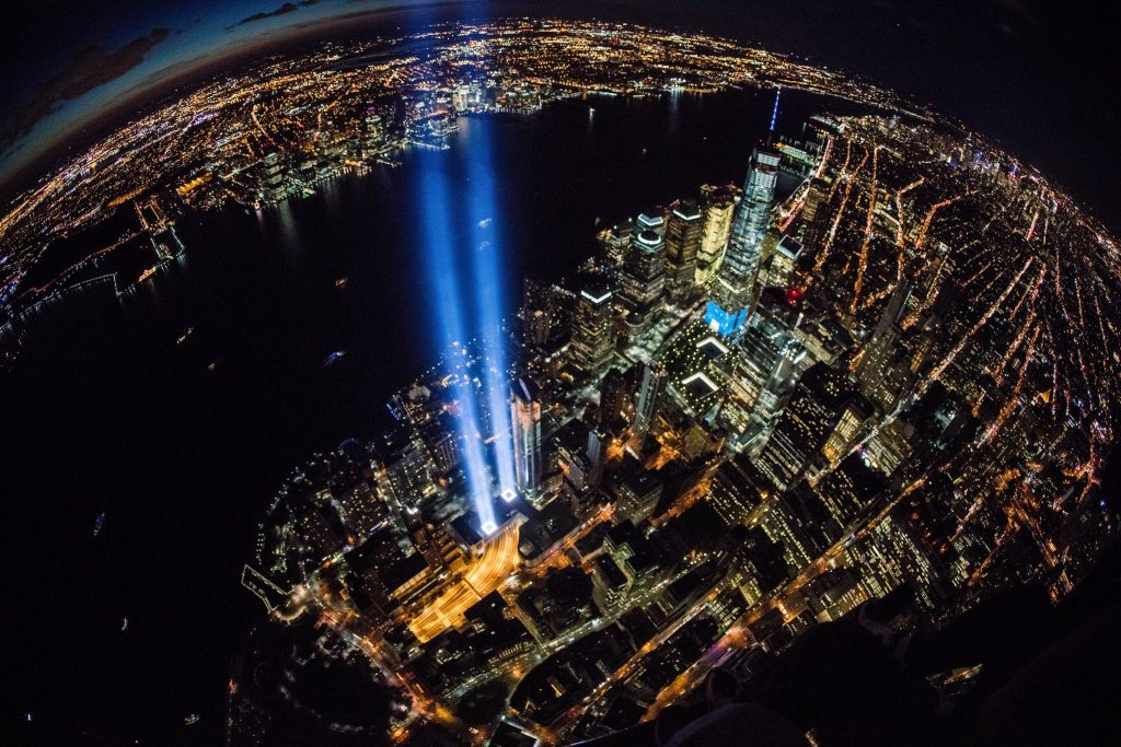 Tribute in light, vu d'hélicoptère