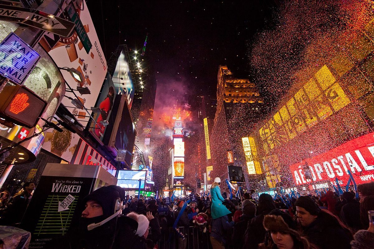 feu d'artifices Nouvel An sur Times Square