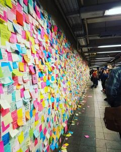 mur de post-its à Union Square