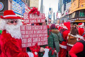 pères Noël sur Times Square
