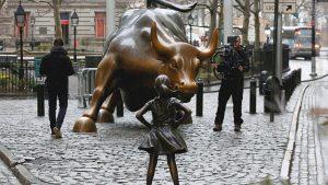 statue charging bull