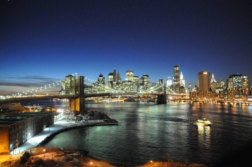 Vue de nuit depuis le Manhattan Bridge