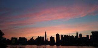 coucher soleil midtown new york