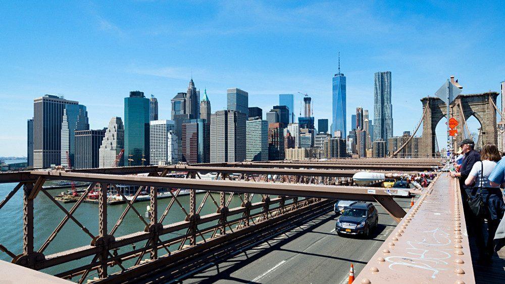 Le Financial District depuis le pont de Brooklyn