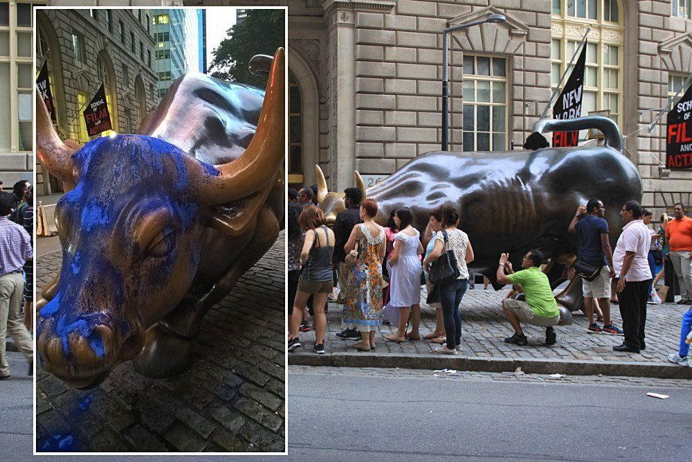 taureau wall street vandalise