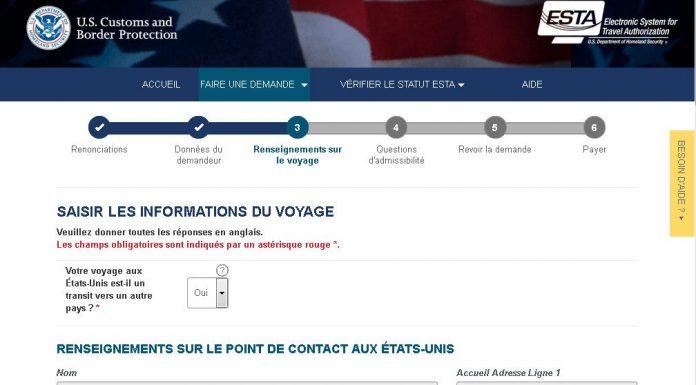 Capture d'écran du site officiel de l'ESTA